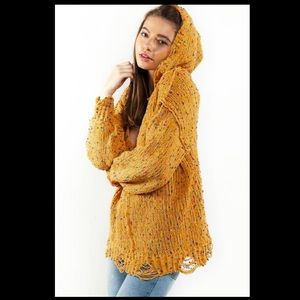NWT POL medium distressed soft hooded sweater
